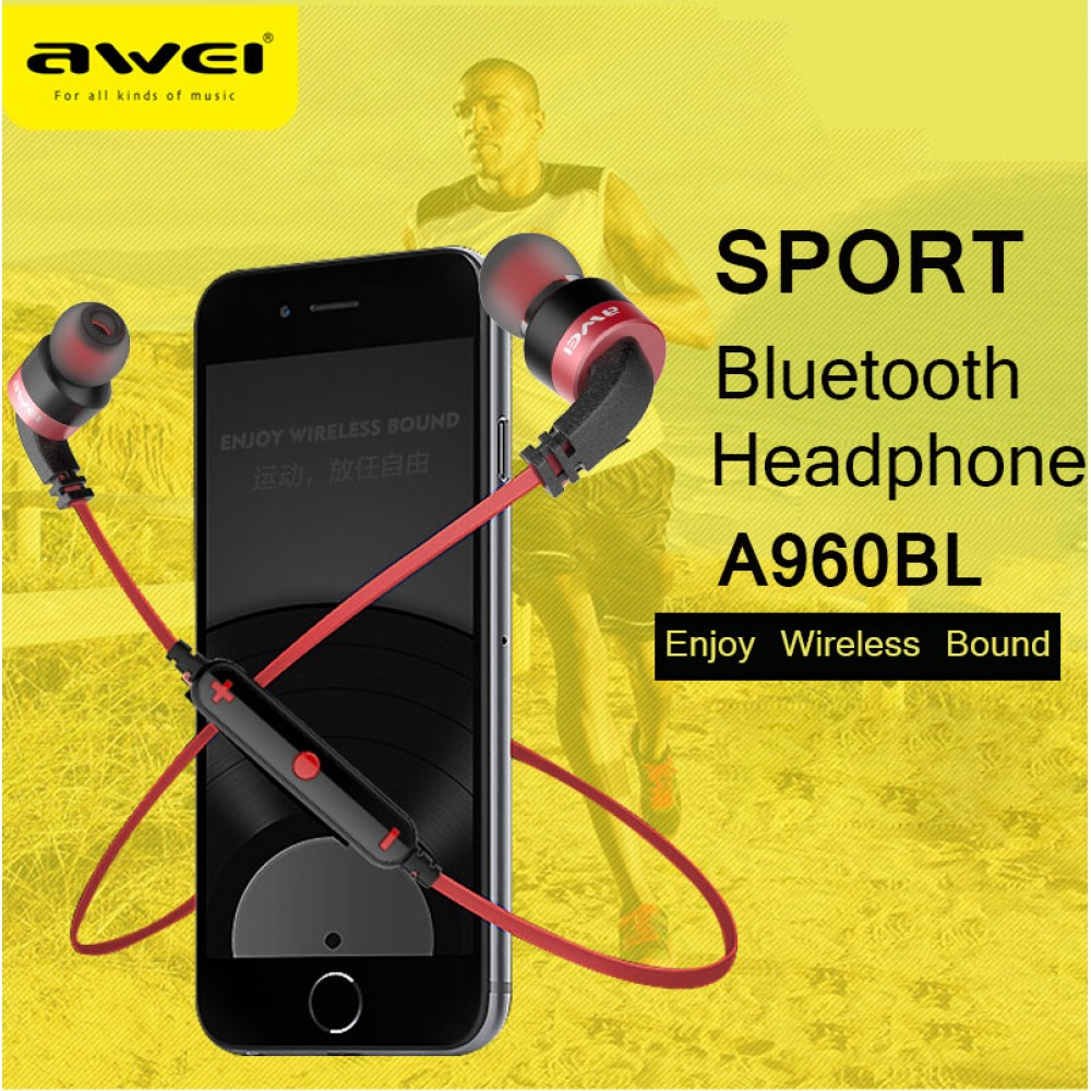 AWEI A960BL Wireless Sports Bluetooth Earphone Bluetooth 4.1 Noise Isolation