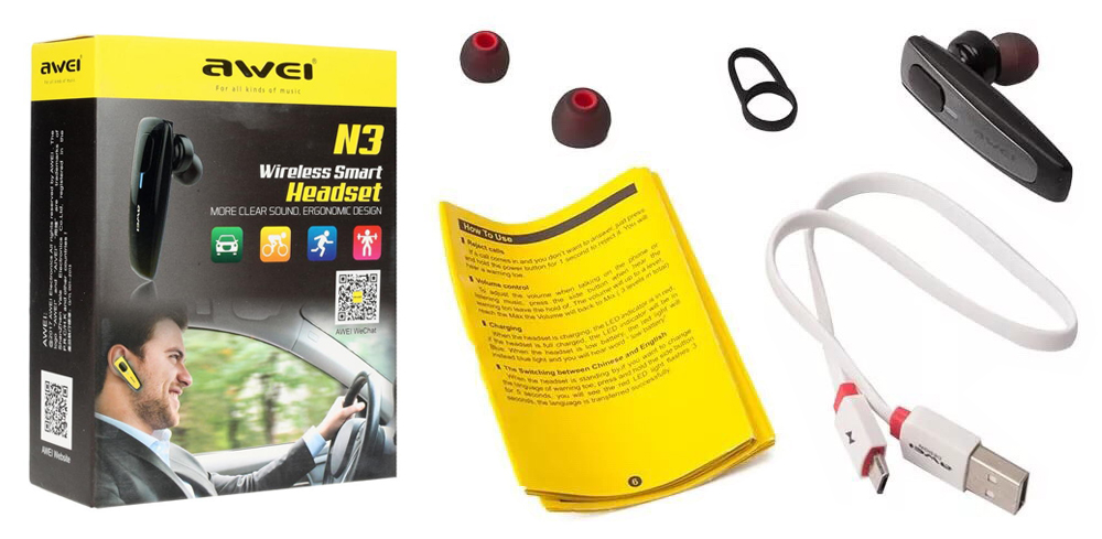 AWEI N3 Wireless Smart Business Bluetooth Headset Package Contents