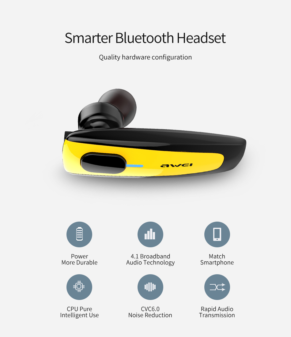 AWEI N3 Wireless Smart Business Bluetooth Headset Smarter Bluetooth Headset Main Functions