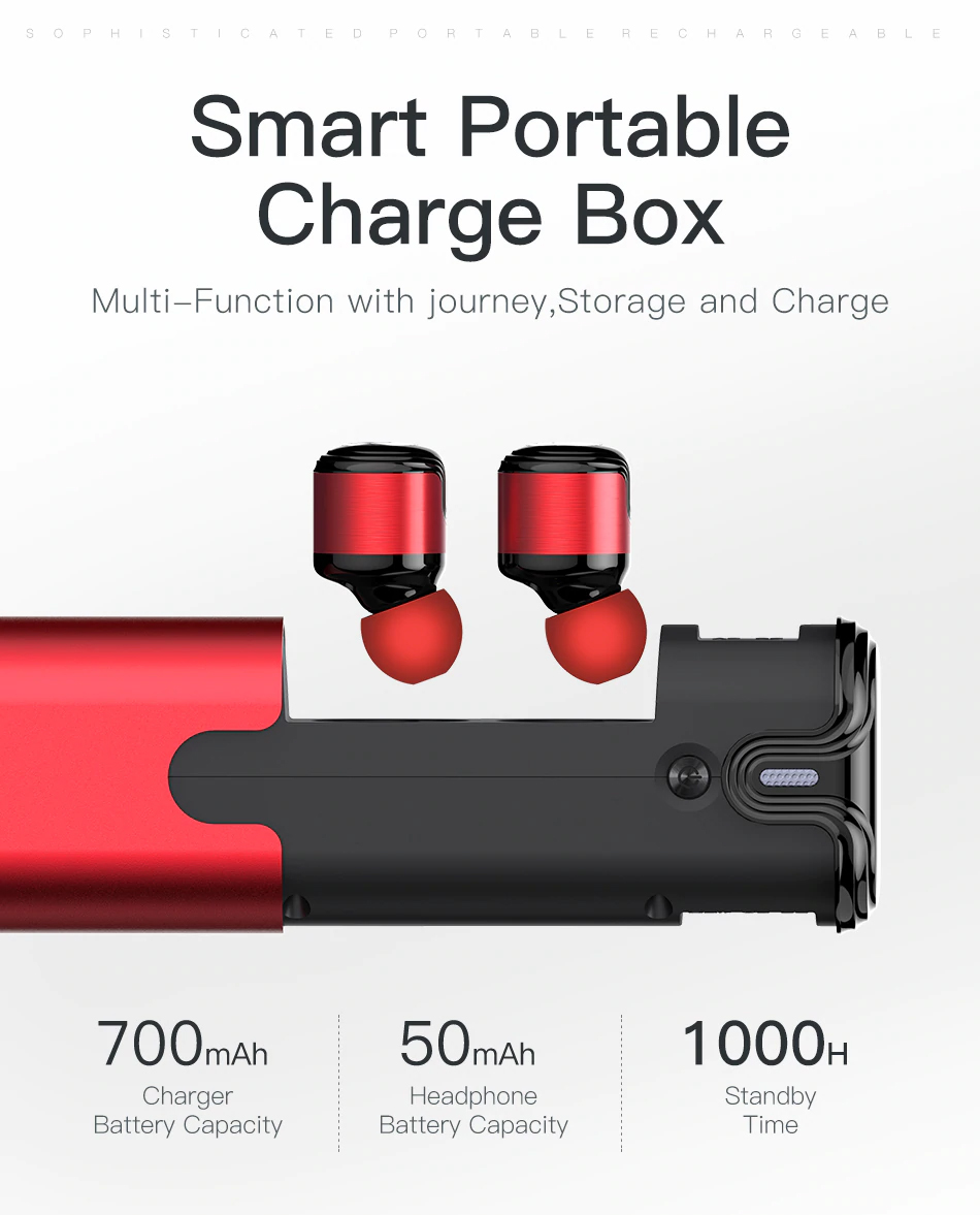 AWEI T8 Wireless TWS Bluetooth Earbuds Smart Portable Charge Box Multi-Function with Journey Storage Charge
