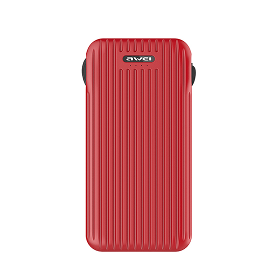 Power Bank AWEI P80K 10000mAh (Red) Front side