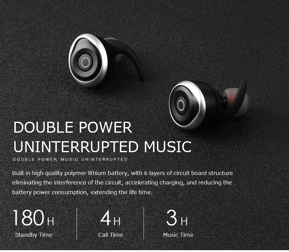 AWEI T1 TWS Bluetooth Earbuds Double Power Uninterrupted Music