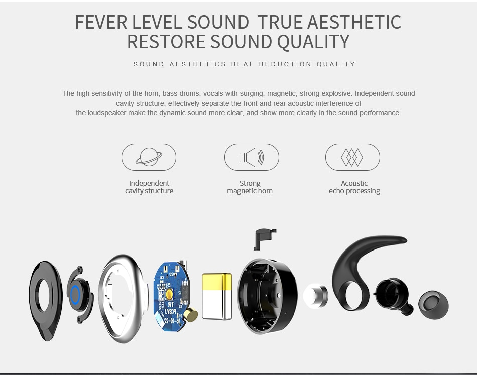 AWEI T1 TWS Bluetooth Еarphone Fever Level Sound True Aesthetic Restore Sound Quality