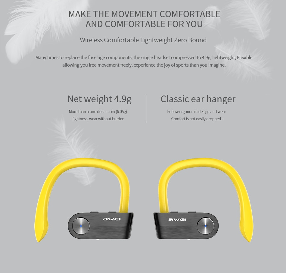 AWEI T2 TWS Bluetooth Earphone make the movement comfortable