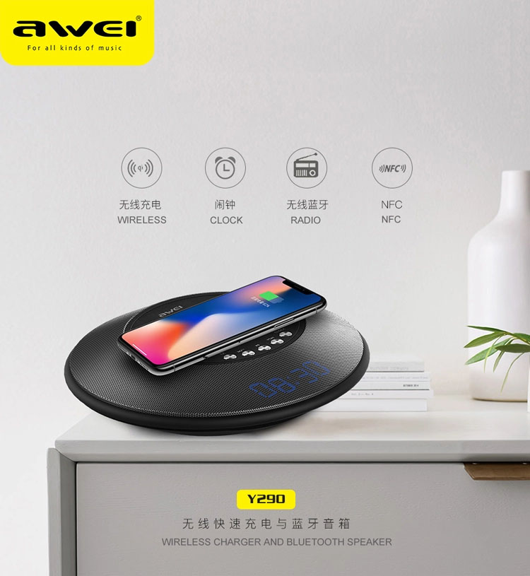 awei y290 wireless charger and bluetooth speaker