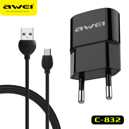 AWEI C-832 Travel Charger Quick charge 2.1A cable USB-Lightning