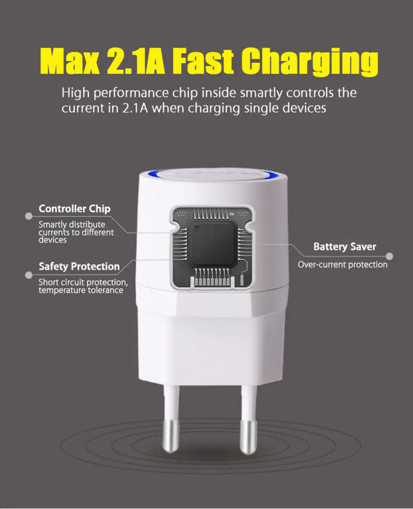AWEI C-900 Travel Charger Max 2.1A Fast charging